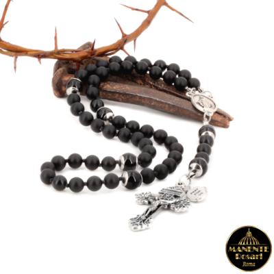 Saint Joseph Black Rosary Made in Italy